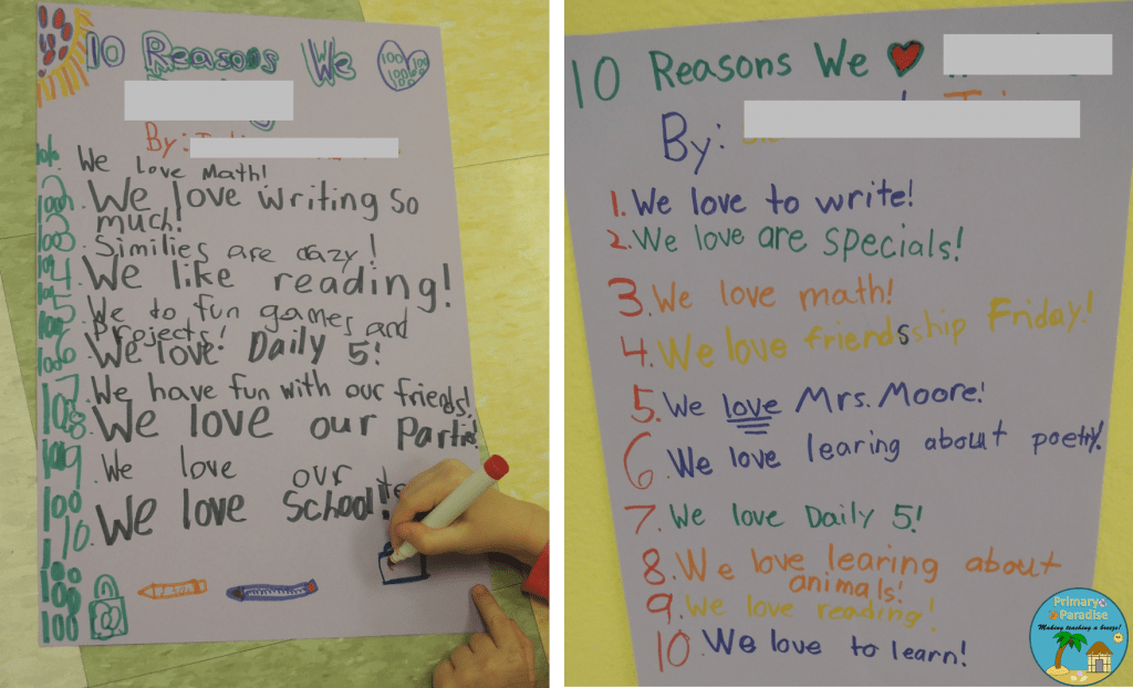 100 Reasons We LOVE Our School