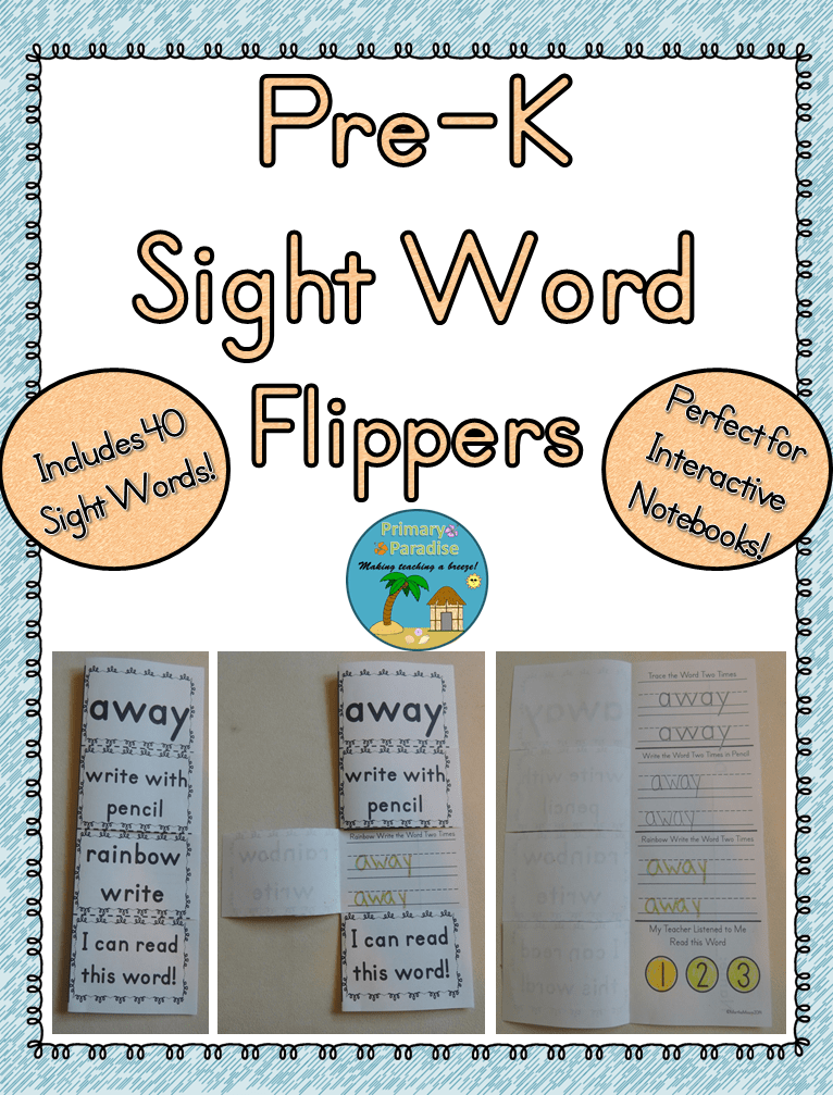 Pre-K Sight Word Flippers