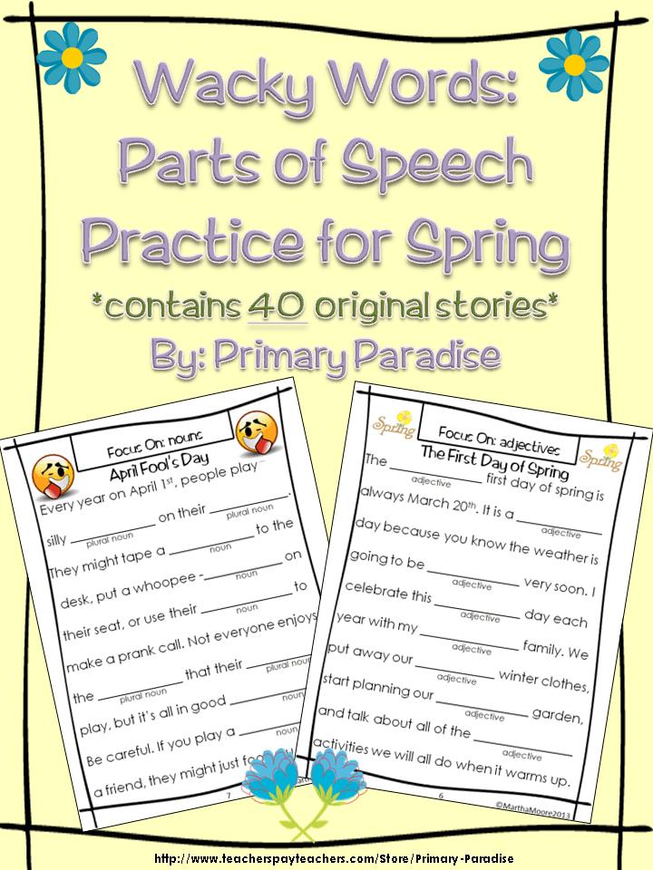 Wacky Words parts of Speech Practice Spring Stories