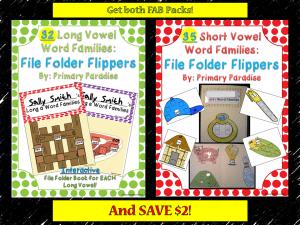 Short and Long Vowel File Folder Flippers