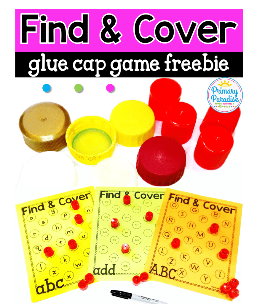 Reuse dried up glue caps or bottle caps to play this free find and cover game with editable versions included