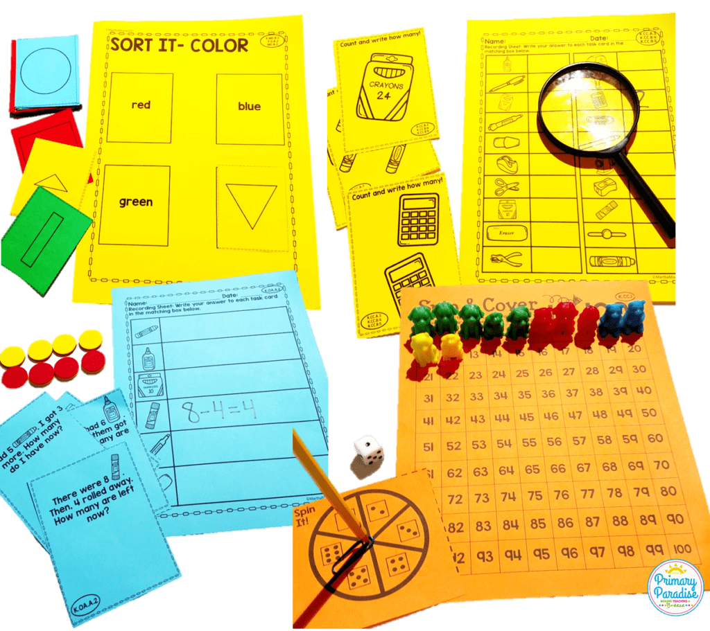 Hands on math centers that your students will love and are cheap and easy to use! You can adapt these same centers for different skills throughout the year which makes them the perfect addition to your kindergarten, first grade, and second grade classroom!