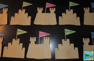 Sand paper sandcastles for beach themed birthday board 12