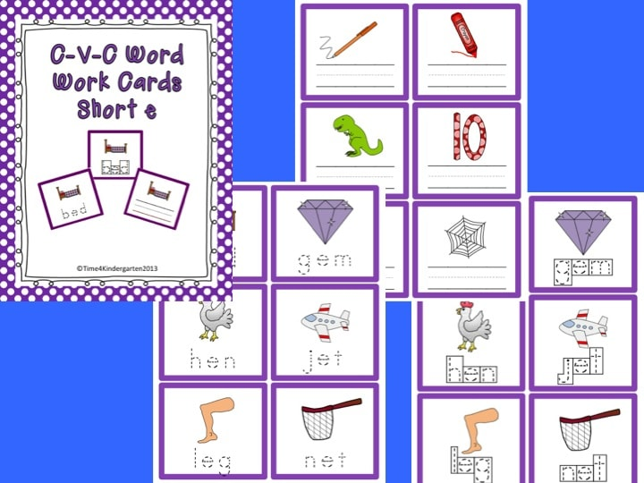 Short e word work cards