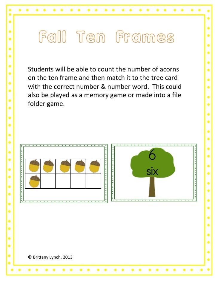 Fall Ten Frame Match Game #freebie