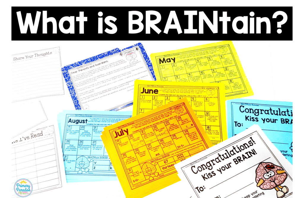 Summer Slide is real, but you can prevent it with no prep BRAINtain. These daily, 5 min brain exercises parents and kids will love!