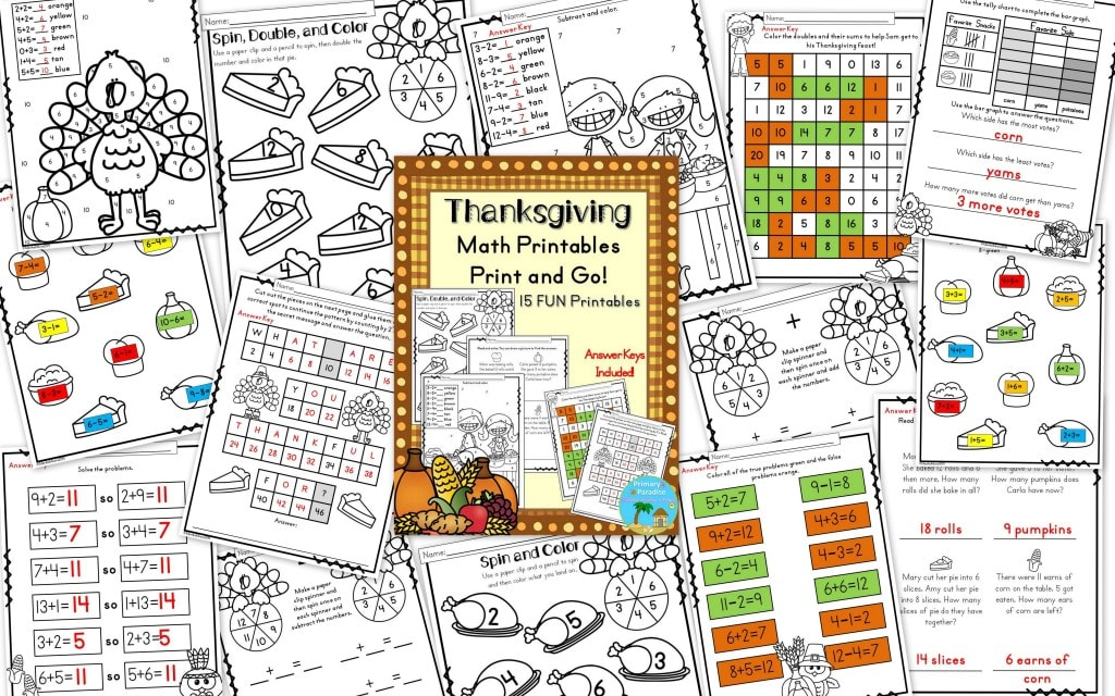 Thanksgiving Just Print Math Pack Collage