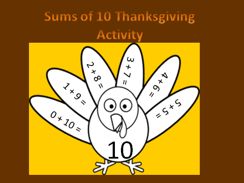 Sums of 10 Thanksgiving FREEBIE