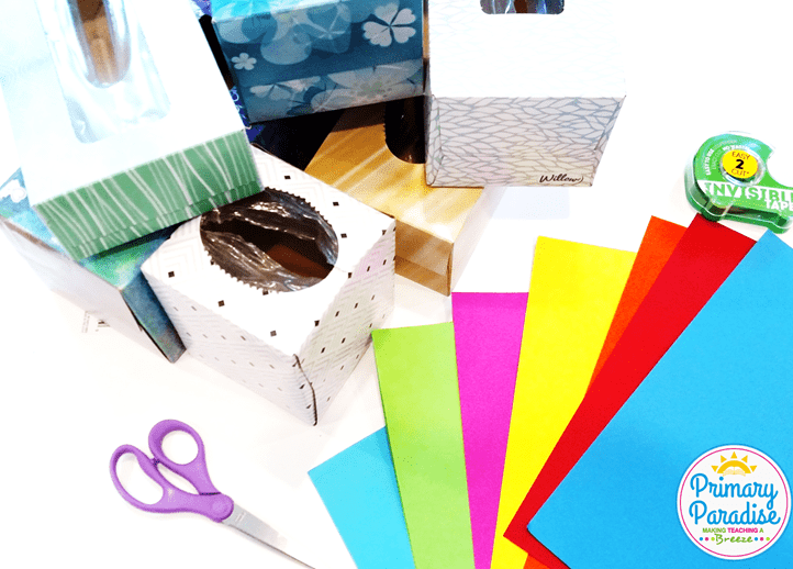 Use old tissue boxes to create this simple game to use with your students to review any skill!