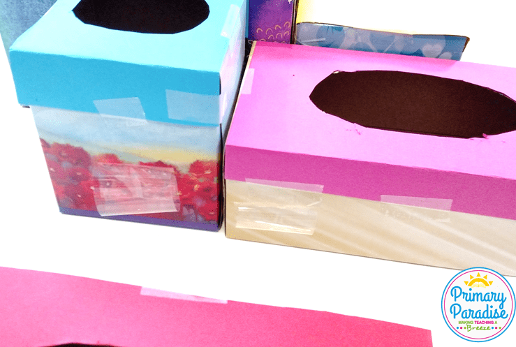 Use tissue boxes to create this fun and easy game to use with your students to review skills!