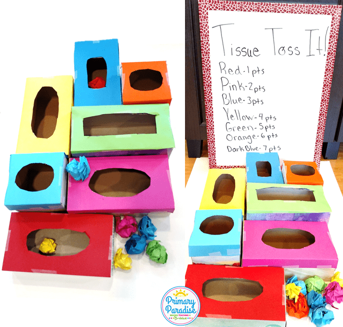 Use tissue boxes to create this fun, easy game to use with your students to review skills!