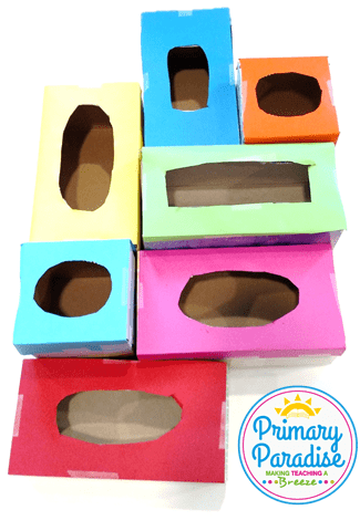 Use tissue boxes to create this simple game to use with your students to review skills!