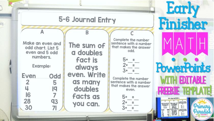 Early Finisher Math PowerPoints: Free Editable Template Included!