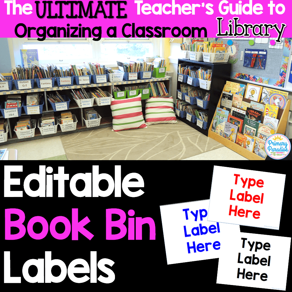Editable Book Bin Labels from the Ultimate Guide to organizing your classroom library