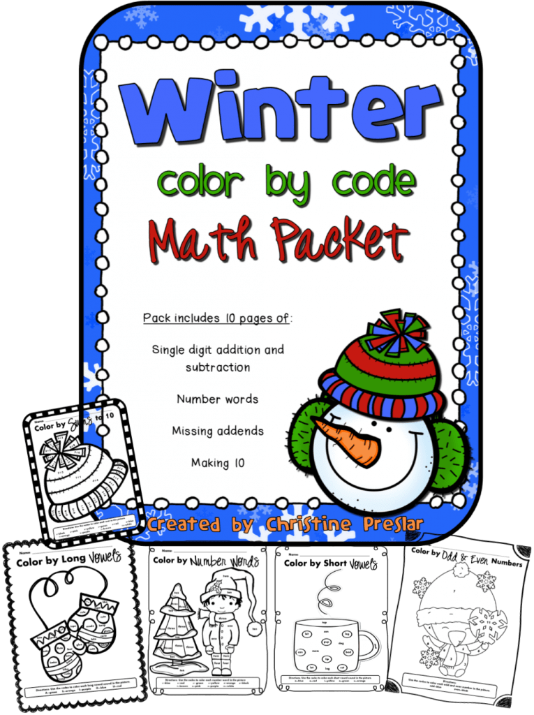 Winter Color By Code FREEBIE